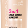 Тональный крем MANHATTAN Easy Match Make up 3 in 1 30 soft porcelain, 30 мл