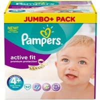 Pampers (Памперс) Active Fit Gr. 4+ Maxi Plus 9-20 kg Jumbo Plus Pack 62 Stuck 62 шт