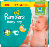 Pampers Baby Dry, Размер 4+ Maxi plus, 9-18 кг Подгузники 31 шт