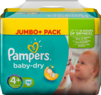 Pampers Baby-Dry Подгузники Размер 4+ Maxi plus 9-20 kg Jumbo+ Pack, 76 шт