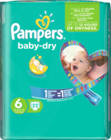 Pampers Baby-Dry Подгузники Размер 6 Экстра large 15+ kg, 22 шт