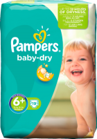 Pampers Baby-Dry Подгузники Размер 6+ Экстра large plus 16+ kg, 19 шт